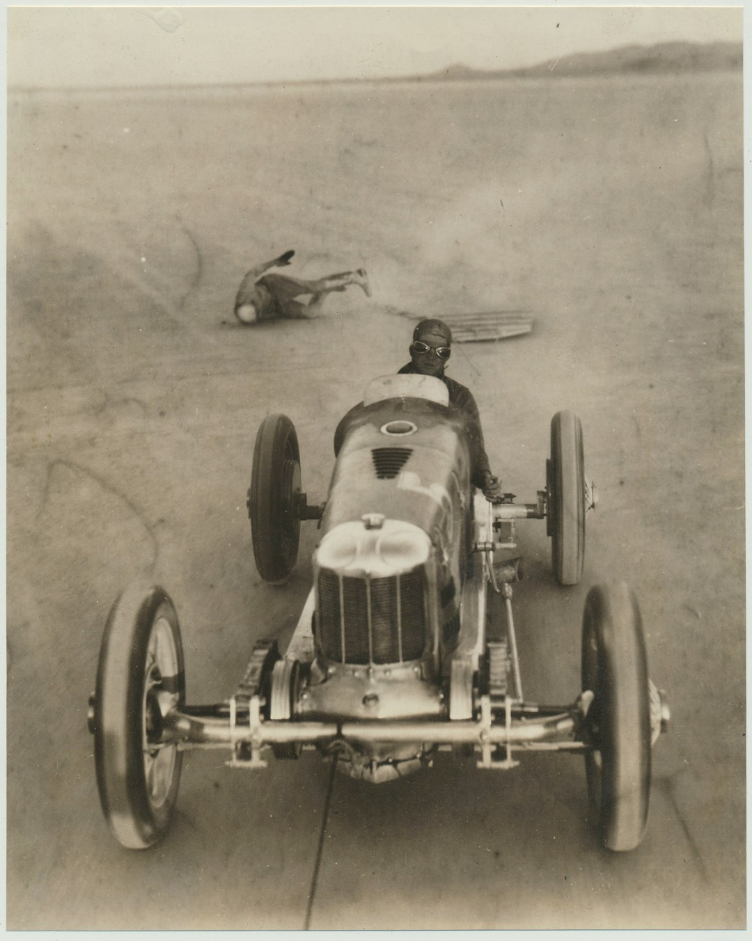 Surfboarding Behind Speedy Race Car :: 1930