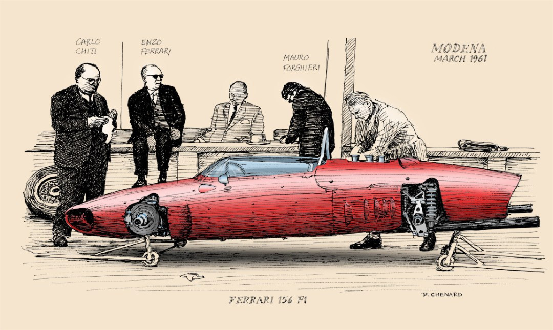 Carlo Chiti has testing done on the new Ferrari 156 (1.5 litre, 6 cylinder) F1 racer. Assisting him is Mauro Forghieri, as Enzo Ferrari looks on.