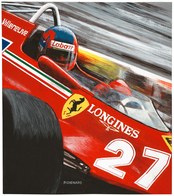 Gilles Villeneuve driving a turbocharged Ferrari 126C to the win of the 1981 Grand Prix de Monaco.