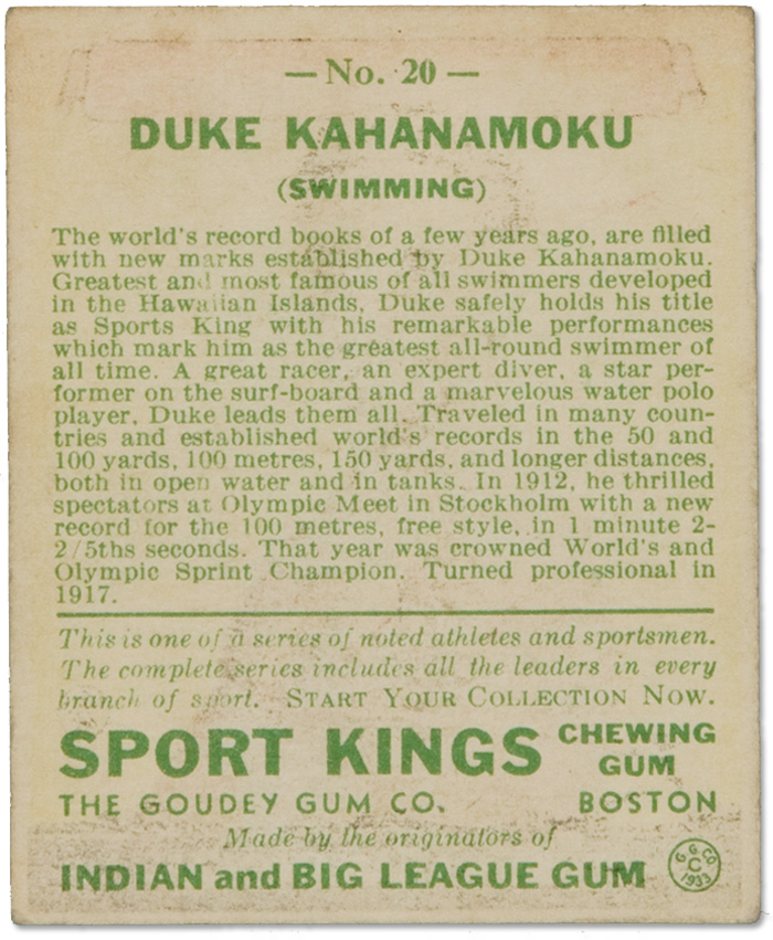 Duke Kahanamoku :: 1933 Sport Kings Card (2)