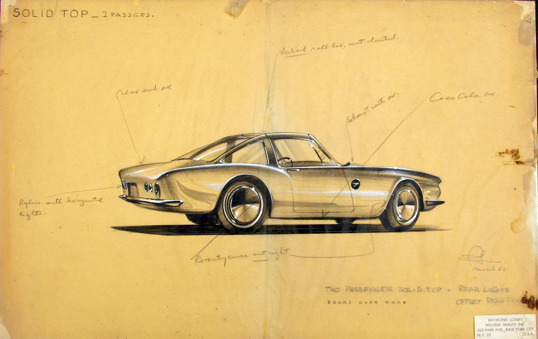 Raymond Loewy Studabaker Avanti Concept Drawings :: March 1961 (2)