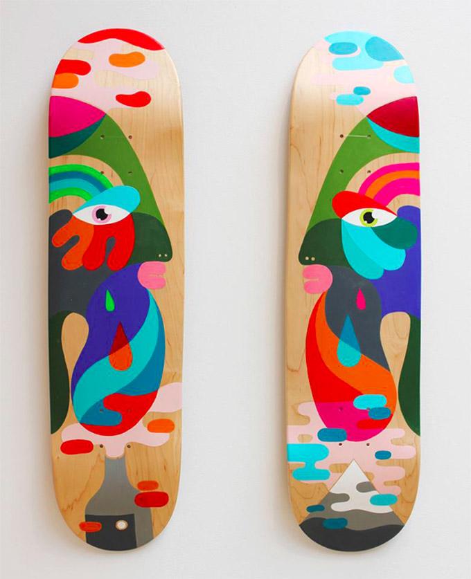 Hand-Painted Skateboard Decks By Artist Oli-B