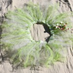 "~33"" around and stretchy to fit most sizes, I made this tutu with white and light green tule fabric and sewed on silk orchids for a little extra decoration. $12 - Send me a message via the contact page to get my PayPal info for purchase. Thank you!"