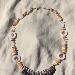"~21"" gemstone necklace on nylon-coated wire string, wire clasps and various gemstone beads including shells, quartz, coral, goldstone, jasper, and citrine. $20 - Send me a message via the contact page to get my PayPal info for purchase."