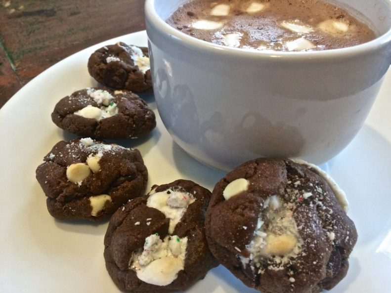 peppermint hot cocoa cookies