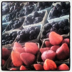 Strawberries and blackberries at the Dallas Farmer's Market. Full of anthoxanthins!