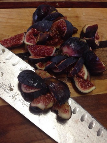 Washed, stemmed, and chopped figs.
