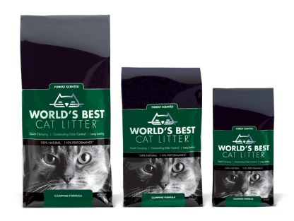 World's Best Cat Litter Forest Scent Giveaway Bag Line Up