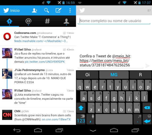 Nova linha azul interligando os tweets de uma mesma conversa e compartilhamento de tweets via DM no Android