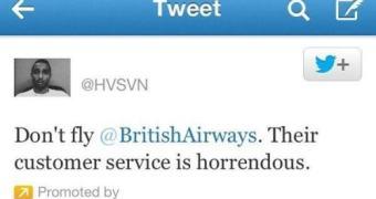 Usuário paga para xingar a British Airways através de tweet patrocinado