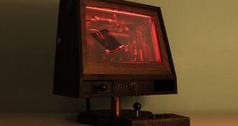 Um PC/arcade feito de madeira