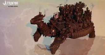 Atropos, a gigantesca tartaruga steampunk feita no Minecraft