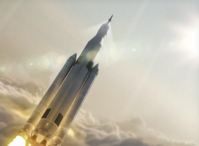 Imagem conceitual do Sistema de Lançamento Espacial.