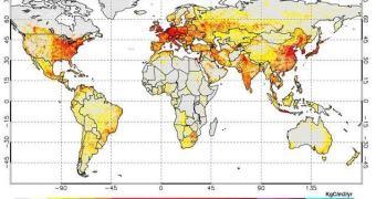 Emissões de dióxido de carbono em um mapa conveniente (desenhado pros negacionistas entenderem)