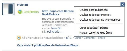 Ocultar aplicativos no Facebook.