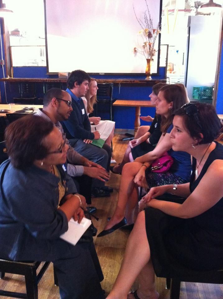 Participants at a Melibee Global speed networking event