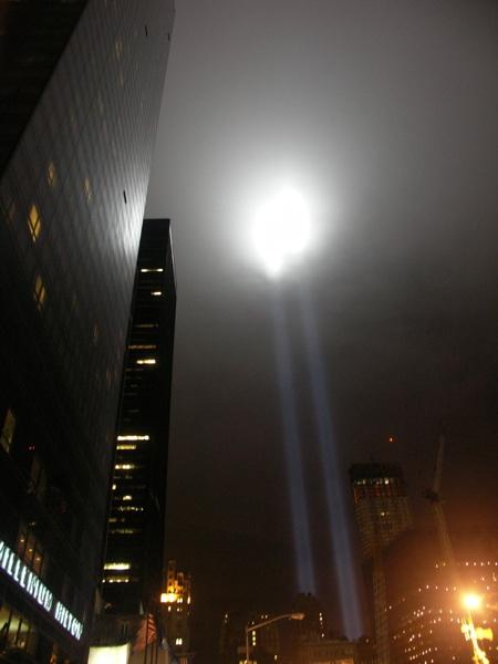 The 9/11 memorial lights at Ground Zero on 9/11/09. Photo courtesy of Tony Zeoli.