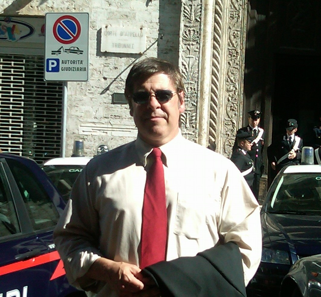 Steve Moore outside the court building in Perugia, Italy.
