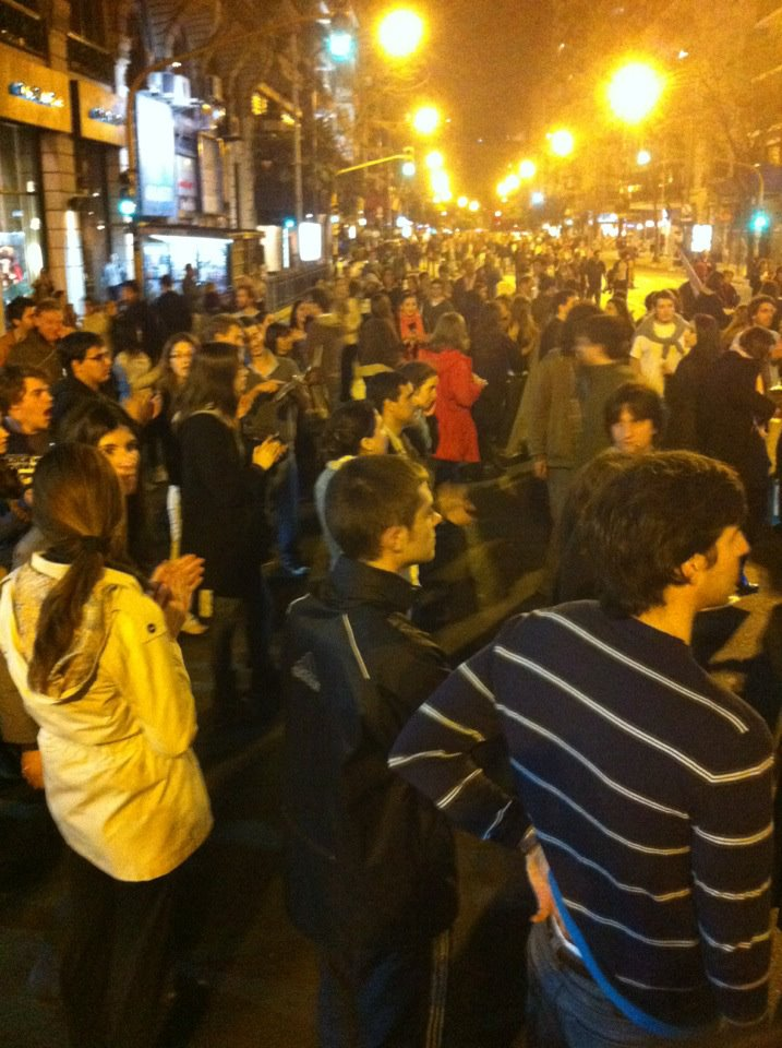 Protestors in the streets of Buenos Aires