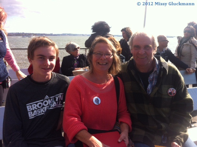 """I met this lovely Danish family on the ferry.  She was wearing an Obama buttons and he was wearing a """"no Romney"""" button.  I asked them about this and they told me that they had seen a hate sign of President Obama with a Hitler mustache and it so disturbed them that they purchased these pins.  They expressed their concerns about the Middle East under a Romney Presidency.  The world is very aware of our upcoming elections.  I really enjoyed our conversation and hope to continue it one day in Denmark or New York!"""