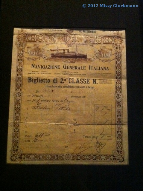 Here is a ticket from Italy to Ellis Island.