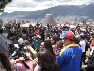 Challenge: Politics in Spanish. Discovery: Attended a political healing ceremony for Venezuelan President Hugo Chavez at the Guayasamin Museum in Quito.