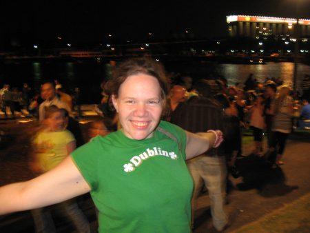 Stephanie wearing a Dublin t-shirt in Australia.