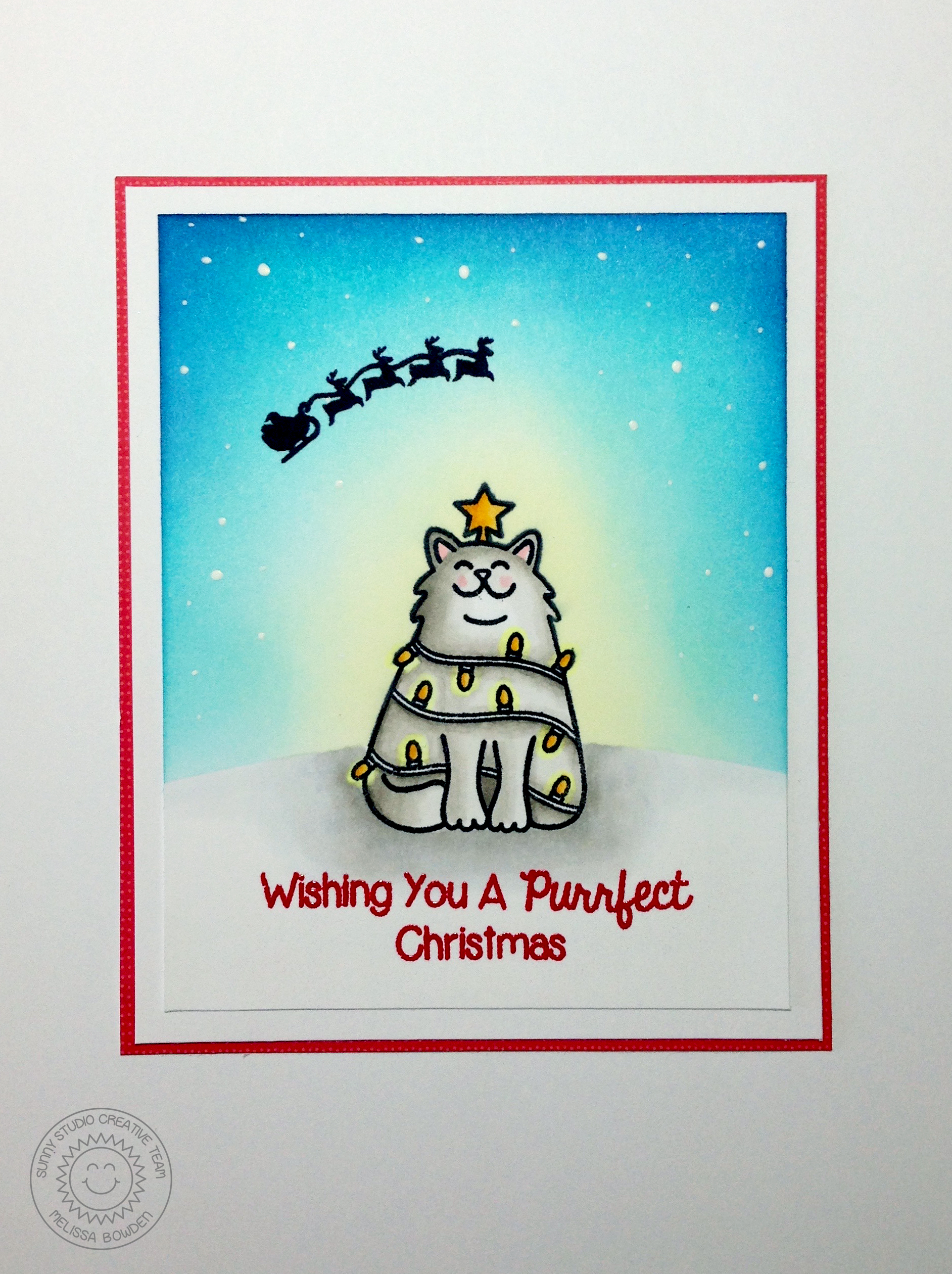 To Create This Card I First Stamped The Cat Image Onto A Piece Of Blank And Then Masked Him Off With Masking Paper Die Cut Hill Border