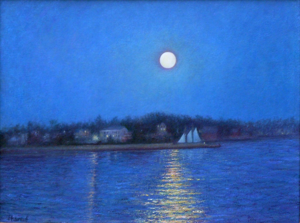 Blue Moon Adventure, landscape painting of full moon reflection Gloucester Harbor by Melody Phaneuf