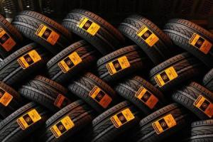 New car tyres are seen inside the Clairoix Continental tyre factory