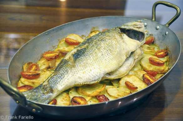 Pesce al forno con patate (Oven Roasted Whole Fish with Potatoes)