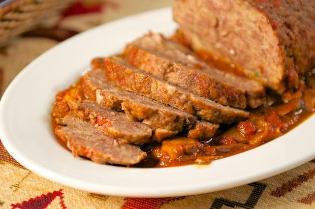 Polpettone in umido con funghi (Meatloaf in Tomato and Mushroom Sauce)