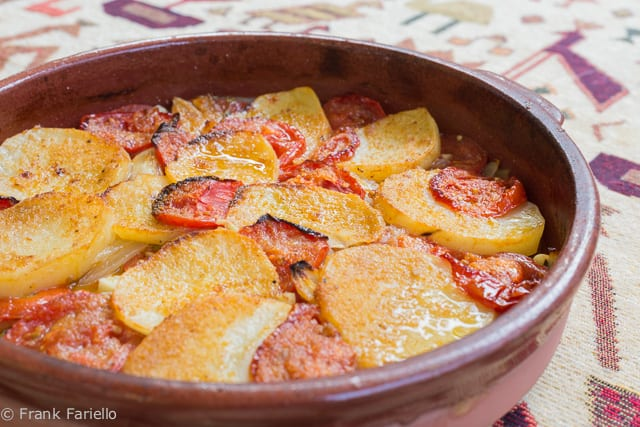 Tiella di patate cipolle e pomodori (Potato Onion and Tomato Casserole)