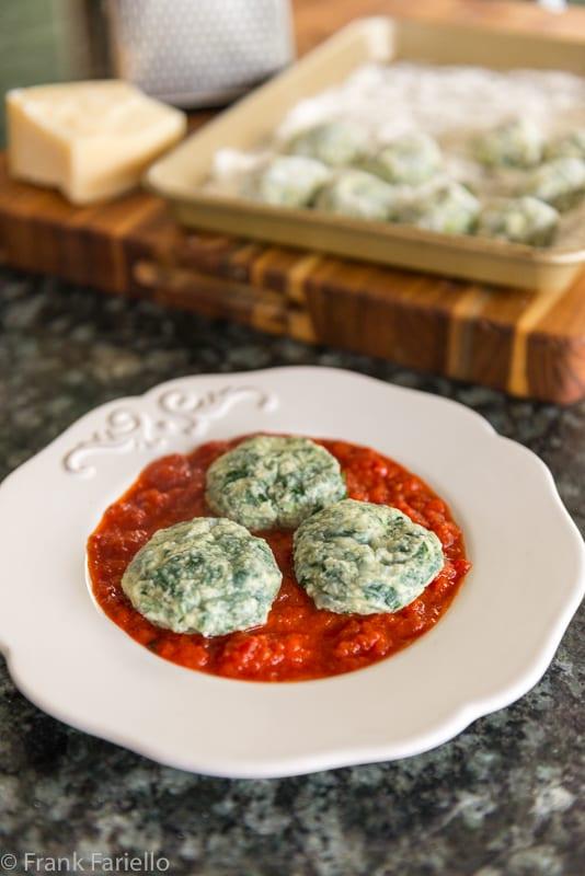 Ravioli nudi (Spinach and Ricotta Dumplings)
