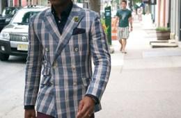Indochino Plaid Linen Blazer