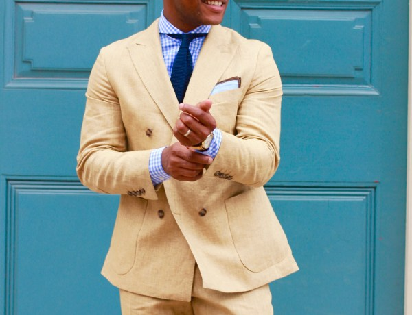 Sabir M. Peele in Oliver Wicks Sand Linen Suit