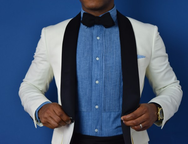 Sabir M. Peele of Men's Style Pro wearing Bonobos Ivory Flannel Tuxedo Jacket