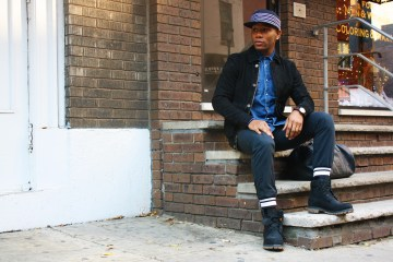 Sabir M. Peele of Men's Style Pro in Timberland Leather Jacket & black timberland boots