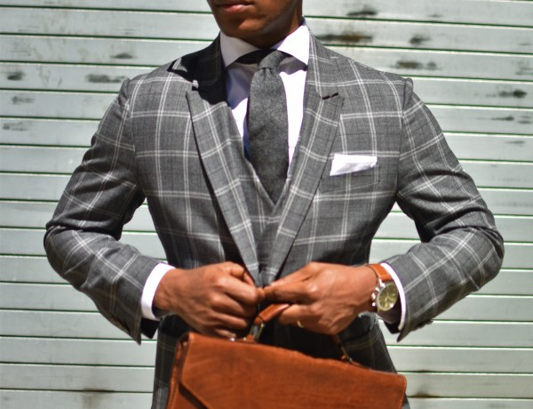 Sabir M. Peele Men's Style Pro in Grey Plaid Tailor 4 Less Suit