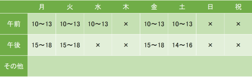 東京えびすさまクリニックの診療時間