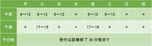 茅ヶ崎クリニックの診療時間