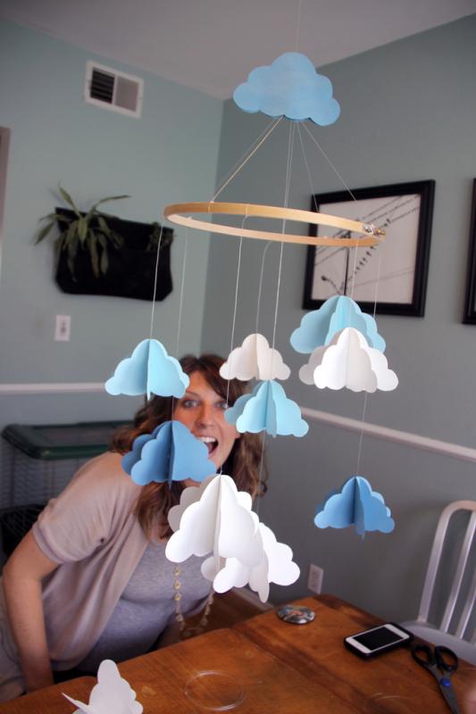 3D mobile nuvole carta fai da te