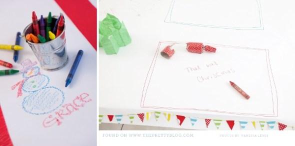 kids xmas paper table