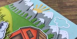 Card Process: Farm/meadow scene card (Lawn Fawn)