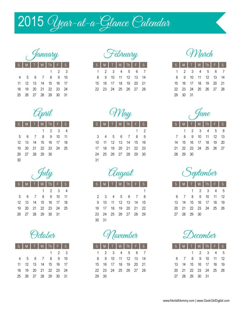 ... of Free Printables: 2015 Year-at-a-Glance Calendar Page - Merlot Mommy