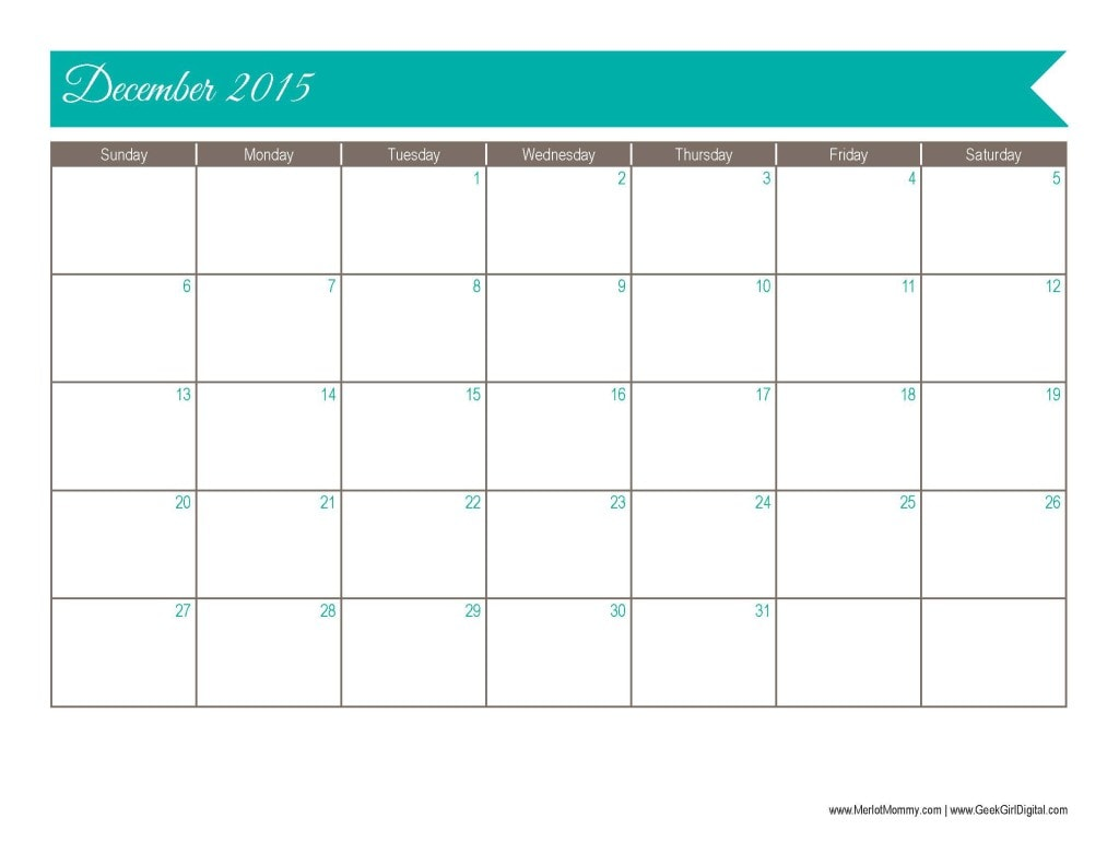 30 Days of Free Printables: 2015 December Calendar Page - Merlot Mommy