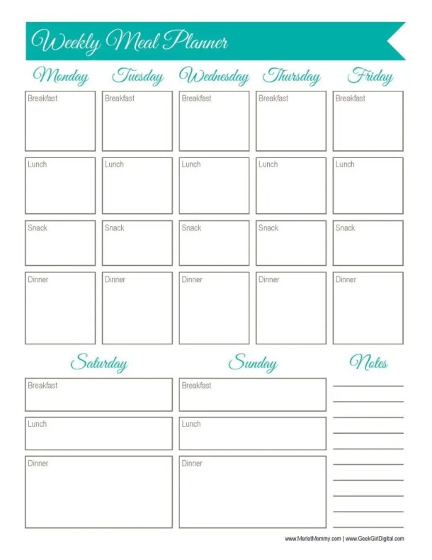 30 Days of Free Printables: Weekly Meal Planner Worksheet - Merlot ...