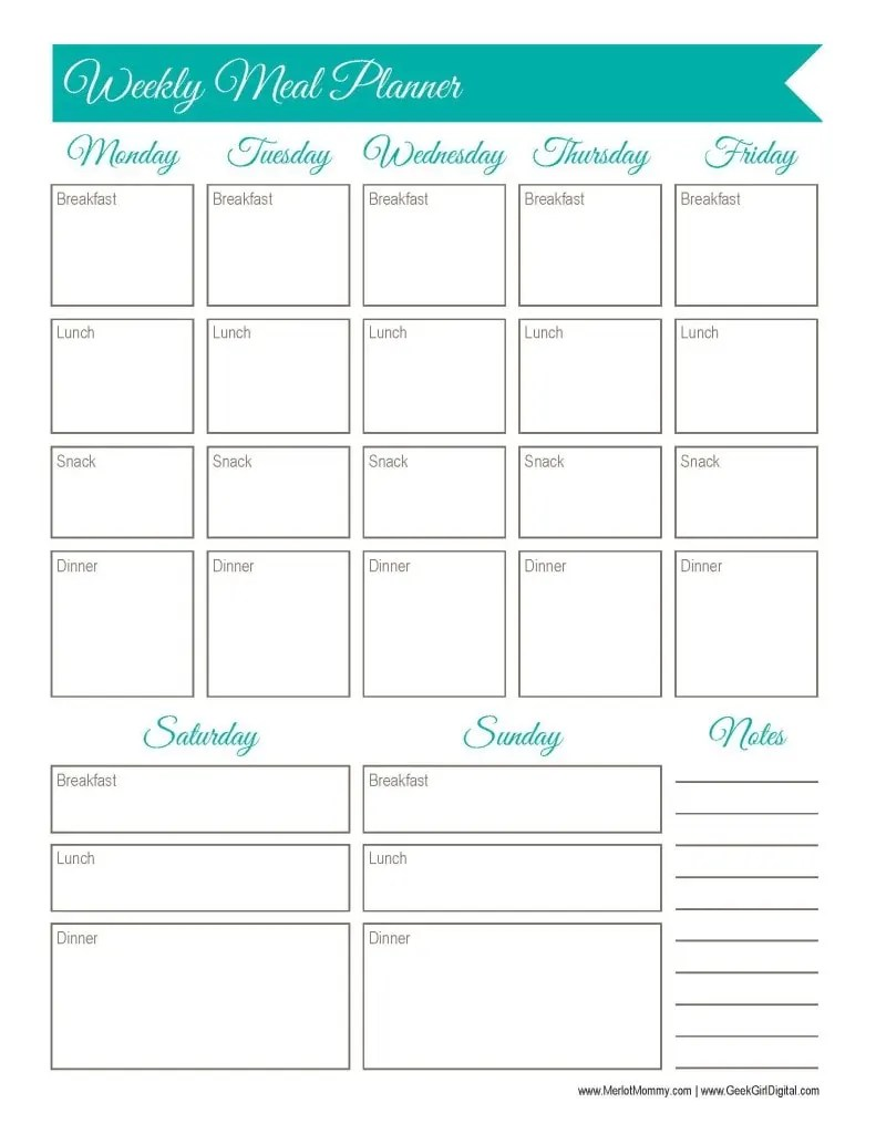 It's just a graphic of Zany Weekly Meal Planner Printable