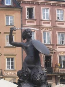 Syrenka Mermaid Statue in Warsaw.