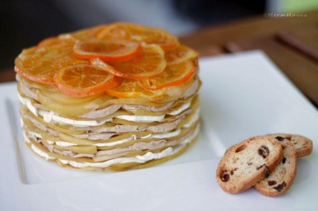 Milhojas de manzana, foie y naranja confitada